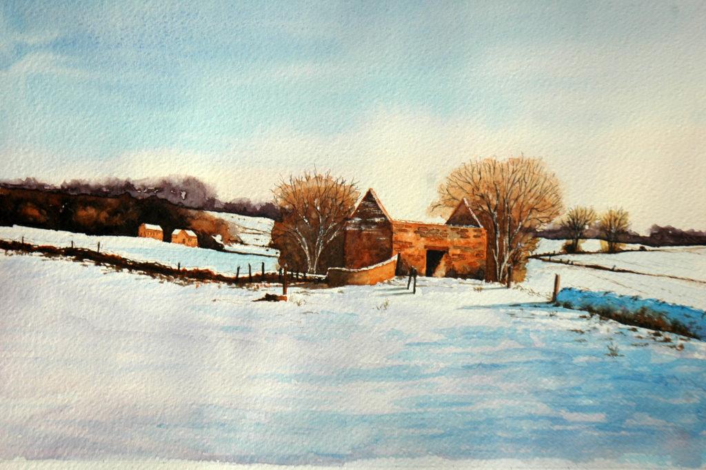 2009 - Paesaggio invernale n. 1 - Omaggio a Geoff Kersey -36 x 26 -