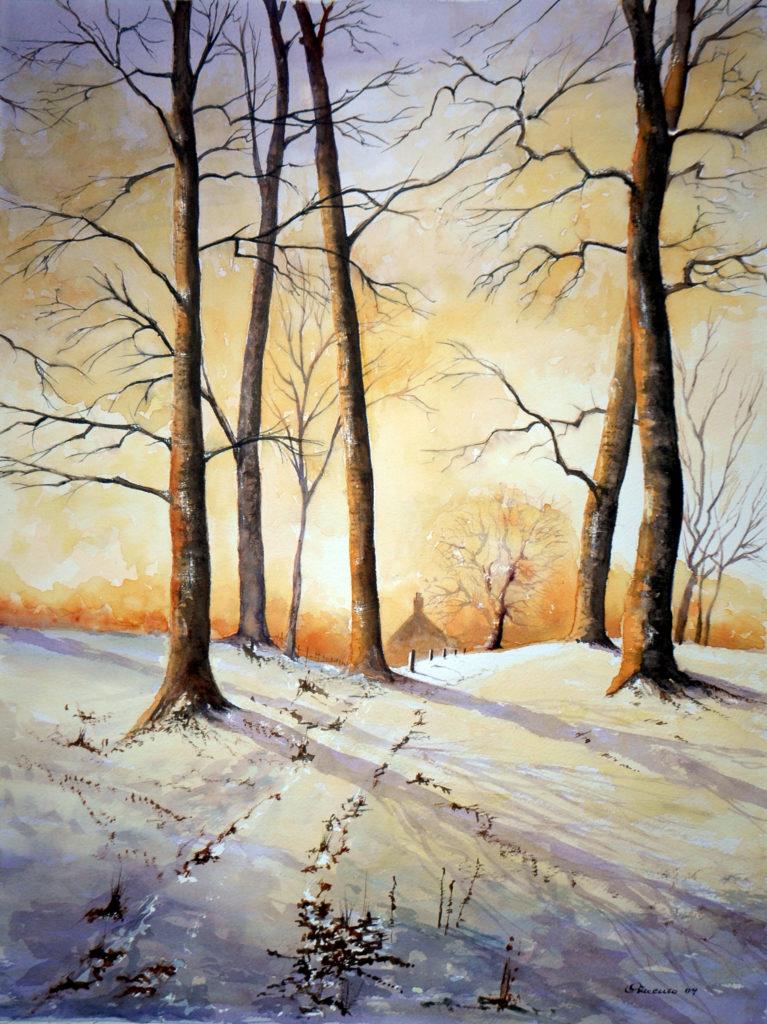 2009 - Paesaggio invernale n. 2 - Omaggio a G. Kersey - 34 x 45 -