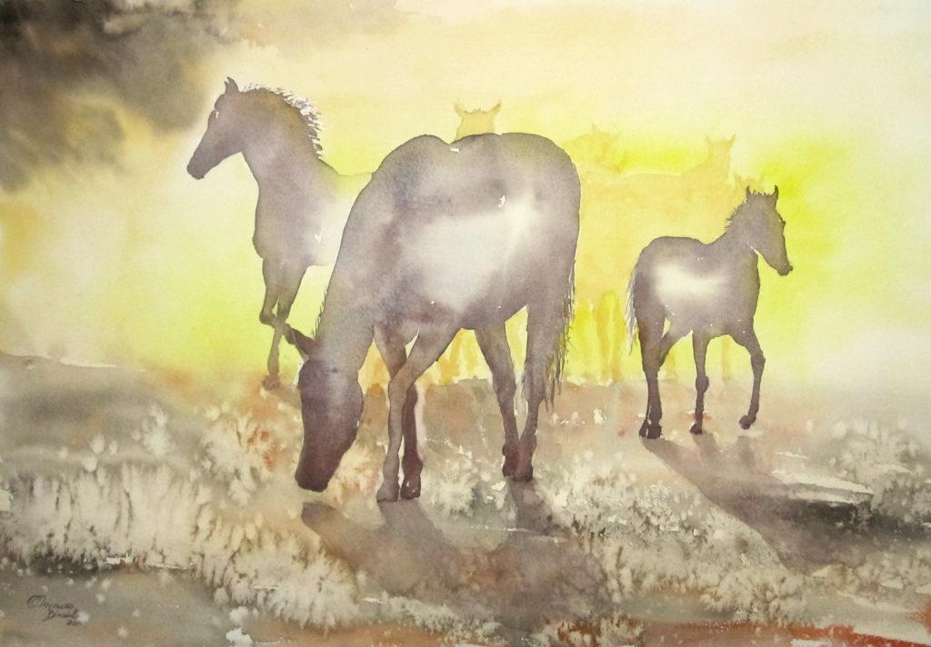 2011 - Cavalli a riposo - 55x35,5 -
