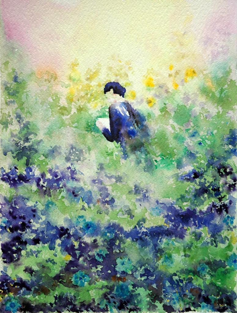 2011 - Prato fiorito - Omaggio a sconosciuto - 37 x 27 - Fabriano 600 gr