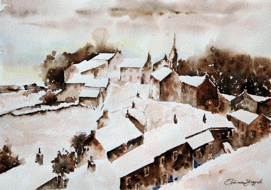 2012 - Paesaggio invernale 1 - 37 x 27 - Fabriano 300 gr