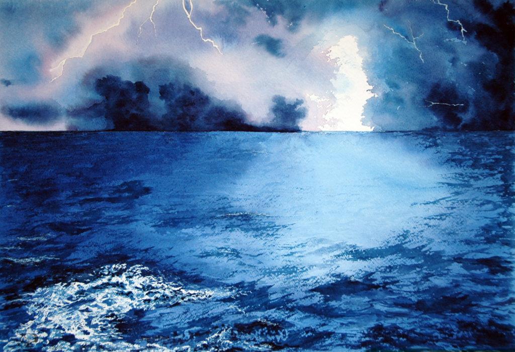 2014 - Fulmini sul mare 2 - 55 x 37 - Fabriano 640 gr