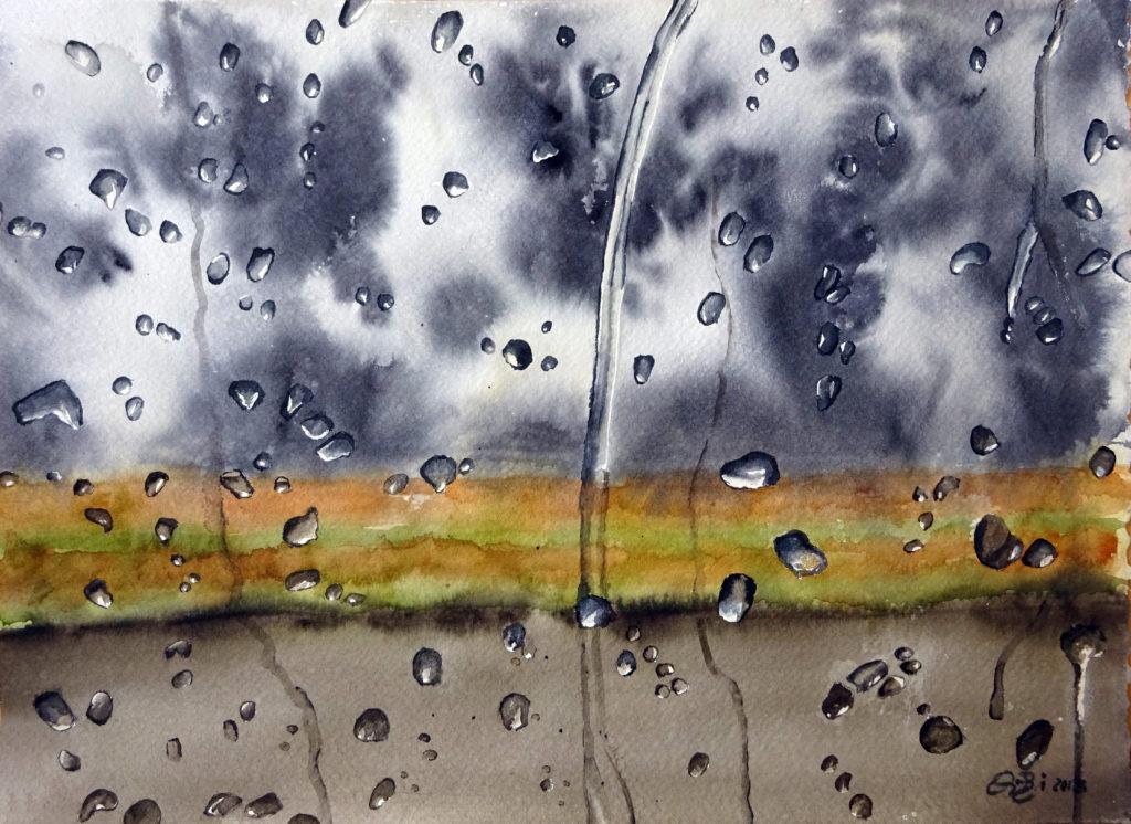 2015 - Pioggia sul Canal du Midi - 38 x 28 - Fabriano White 300 gr.