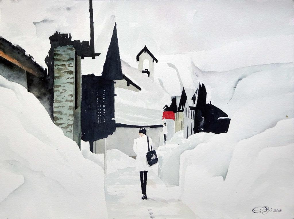 2018 - Sulla neve - 38,5 x 28,5 - Arches liscia 300 gr