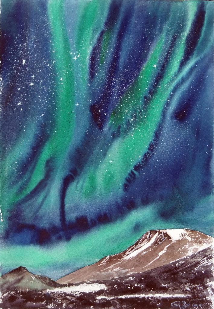 2019 - Aurora boreale n. 2 - 28 x 38 - Fabriano a mano