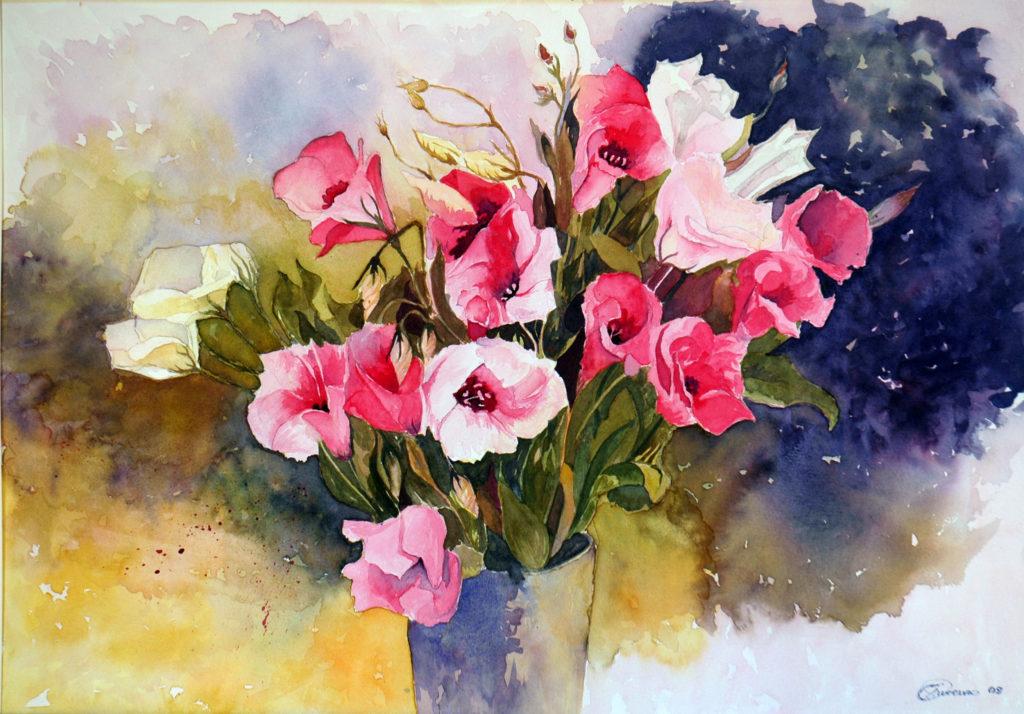 VENDUTO 2009 - Composizione floreale. Omaggio a A. Fletcher - 36x50 - 2009