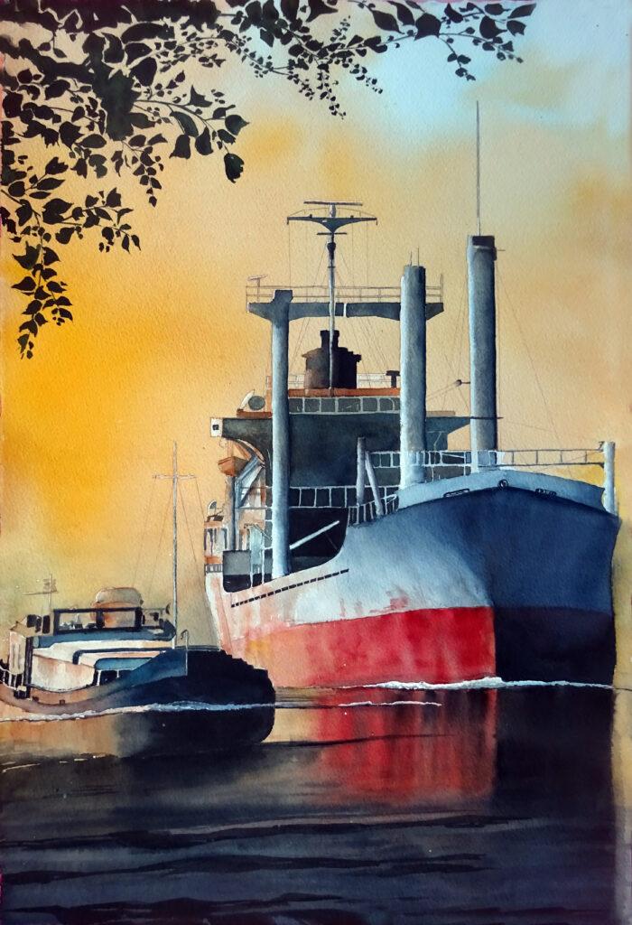 2020 - Traffico navale - 38 x 57 - Arches 300 gr