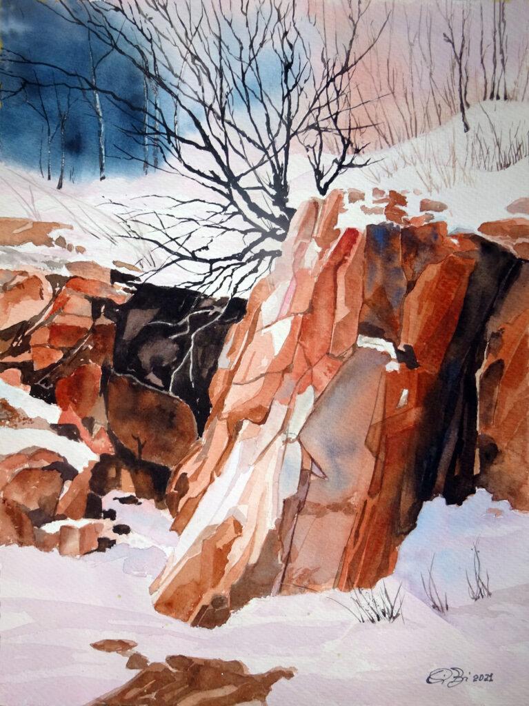 2021 - Rocce sotto la neve - 31 x 41 - Sanders 300 gr