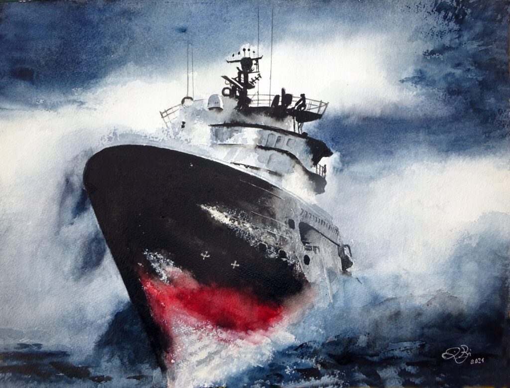 2021 - nave in tempesta - 41 x 31 - W&N 300 gr